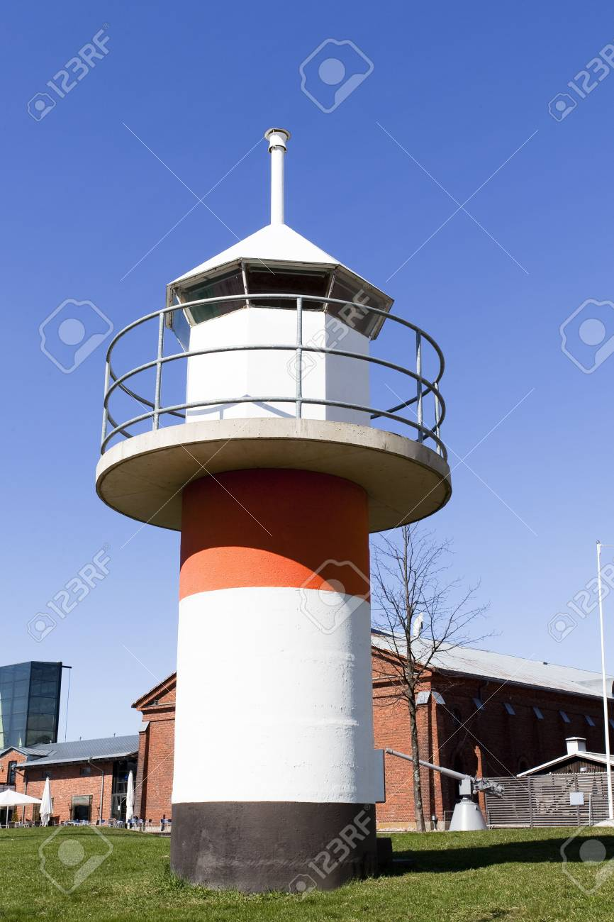 Model Of Lighthouse Near The Museum Ship Finnish Swan Stock Photo