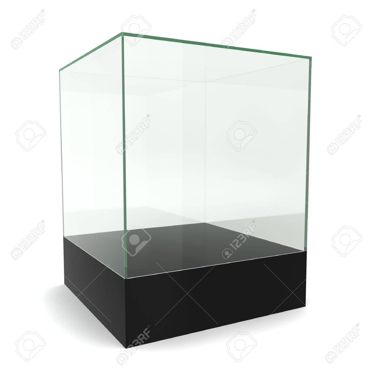 Glass cube on pedestal. 3d illustration on white background Stock Illustration - 21849978