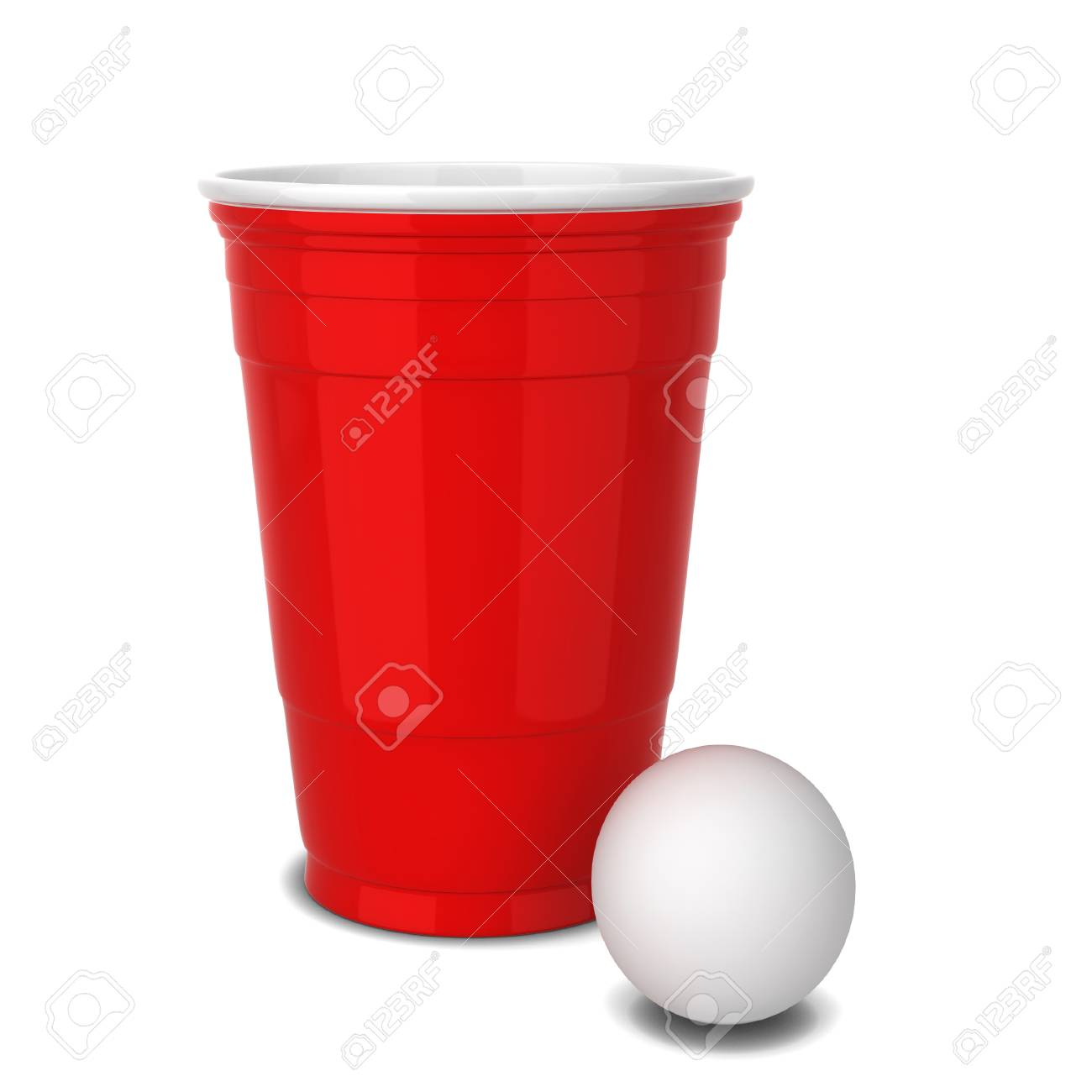 Red Plastic Cup  3d Illustration Isolated On White Background Stock