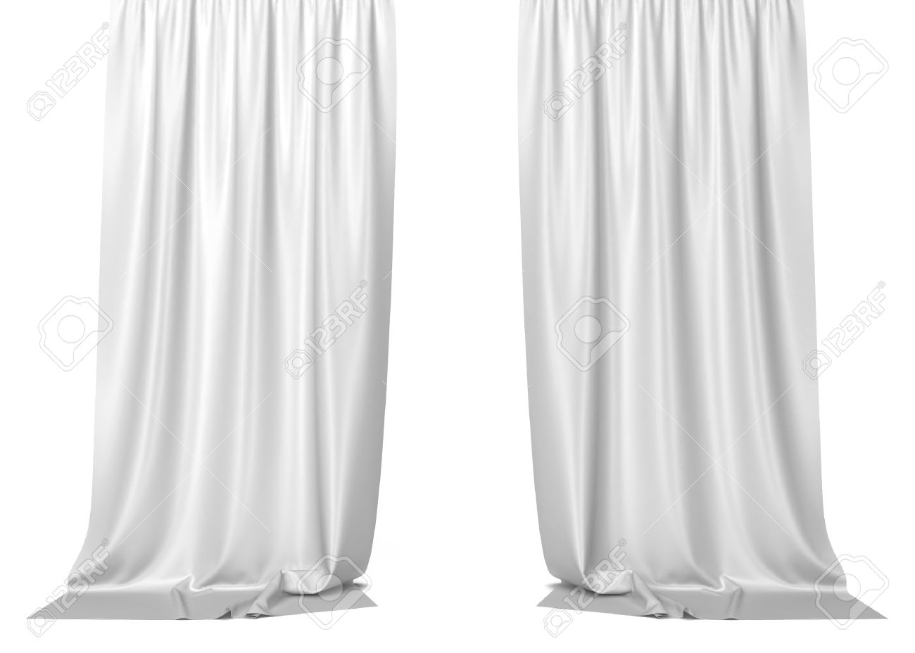 White Curtains 3d Illustration Isolated On Background Foto