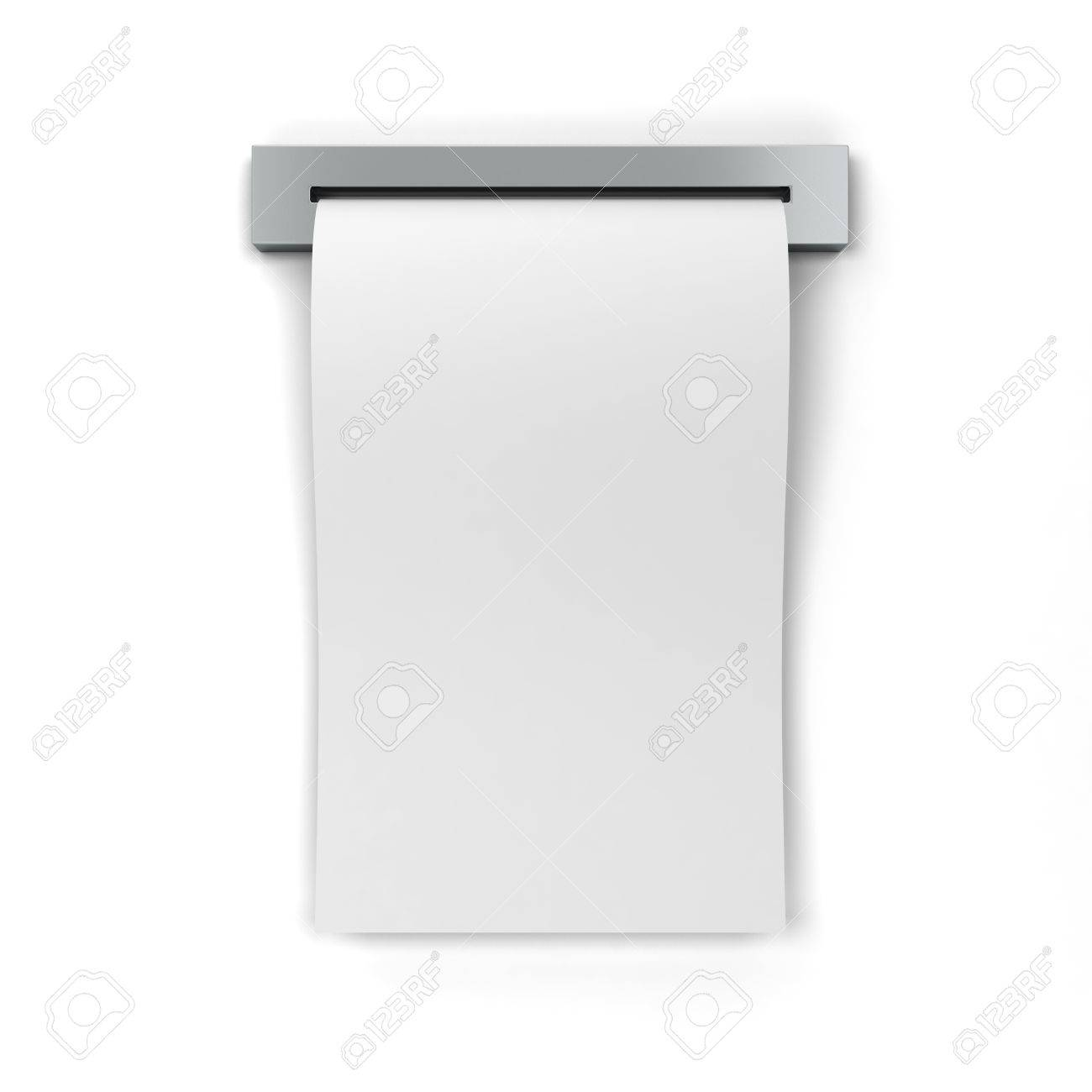 blank cash receipt 3d illustration isolated on white background