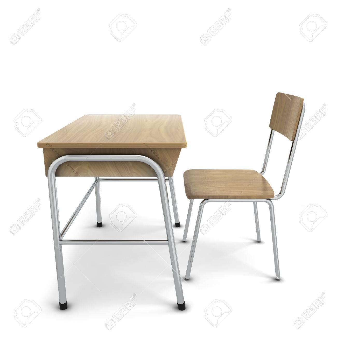 School Tafel En Stoel.Schooltafel Met Stoel 3d Illustratie Geisoleerd Op Een Witte Achtergrond