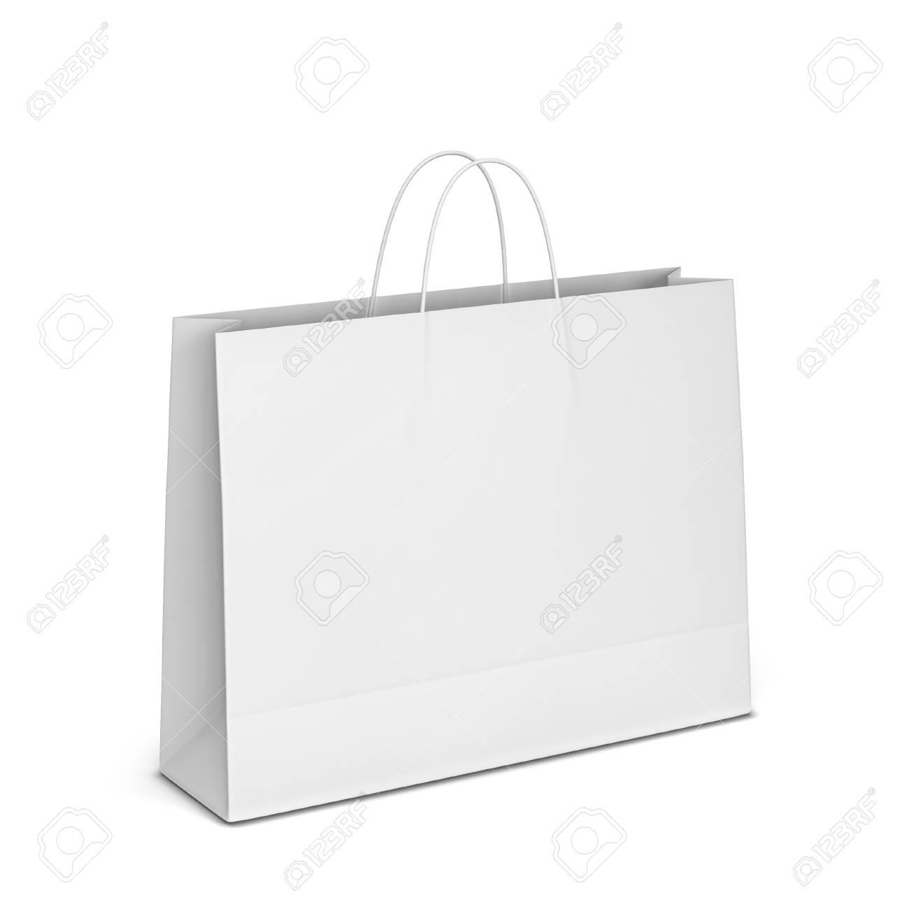 Blank shopping bag mockup. 3d illustration isolated on white background - 107343061