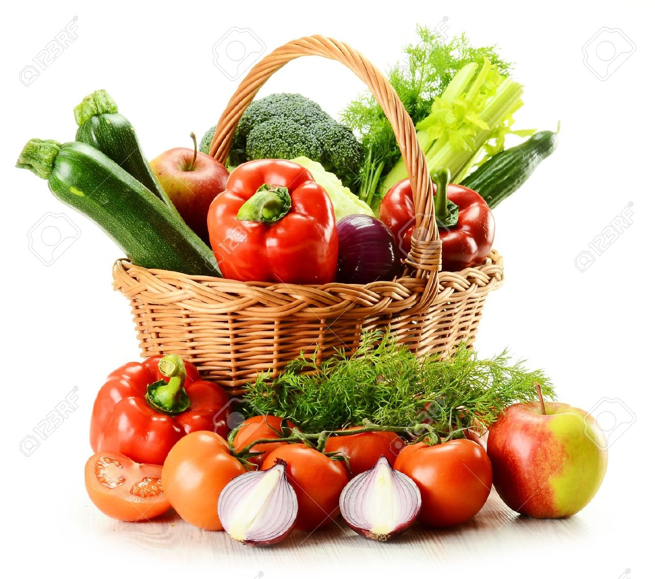Composition With Raw Vegetables And Wicker Basket Isolated On White Stock  Photo   10221456