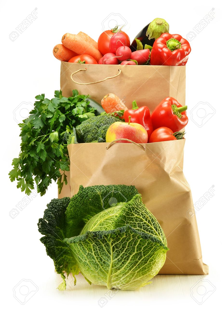 Composition With Raw Vegetables And Shopping Bag Isolated On ...