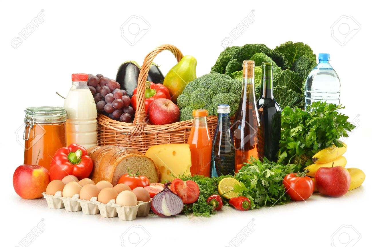 Groceries in wicker basket including vegetables, fruits, bakery and dairy products and wine isolated on white Stock Photo - 10788252