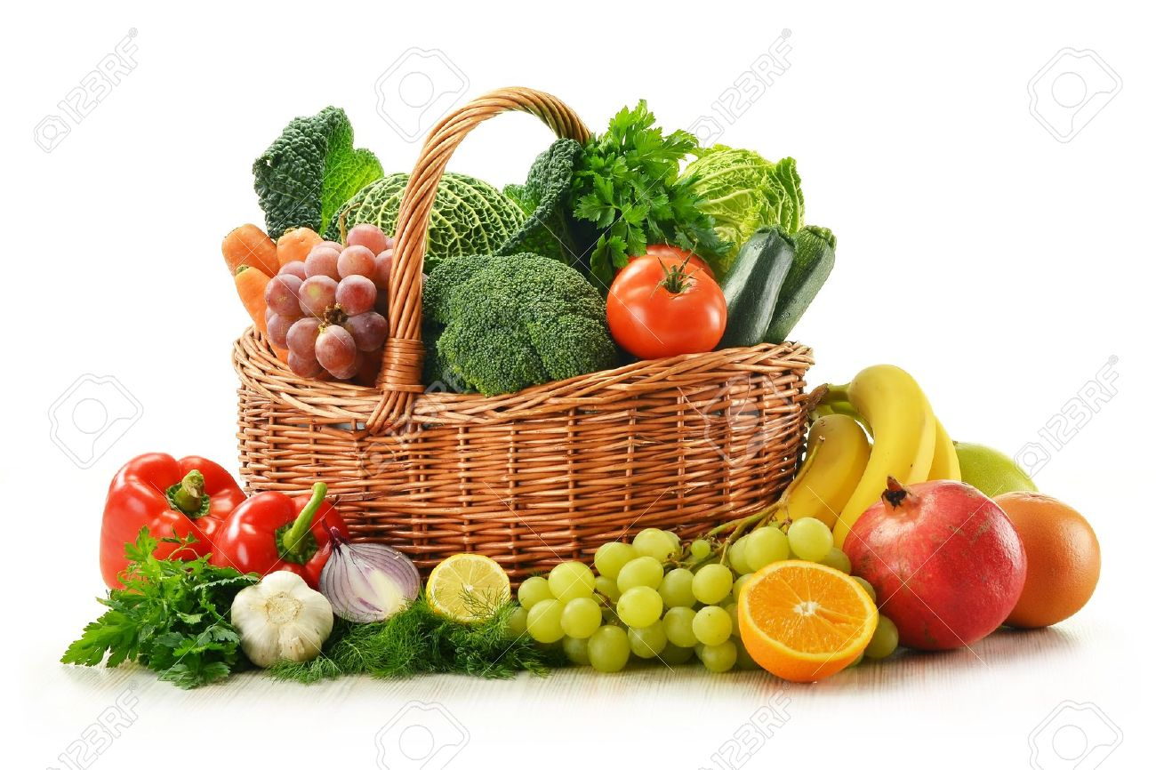 Composition with vegetables and fruits in wicker basket isolated on white Stock Photo - 11214729