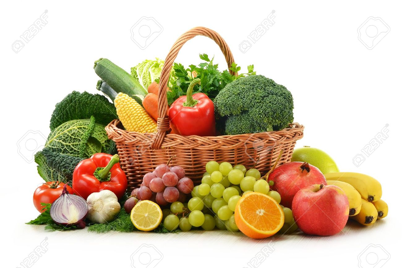 Composition with vegetables and fruits in wicker basket isolated on white Stock Photo - 11214726