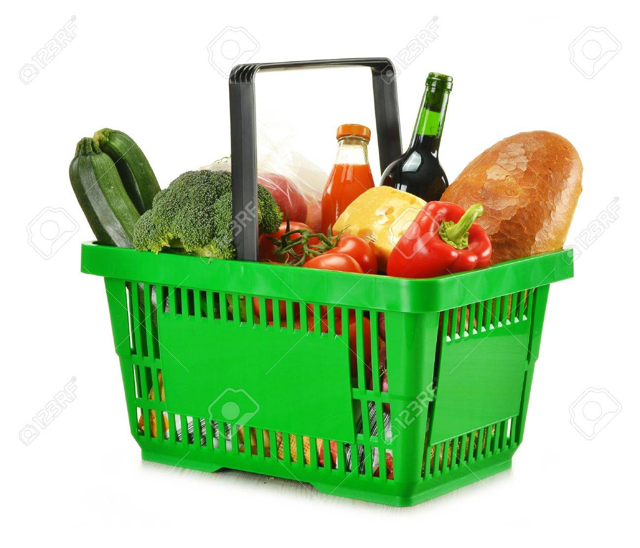 Composition with shopping basket and groceries isolated on white Stock Photo - 11549119