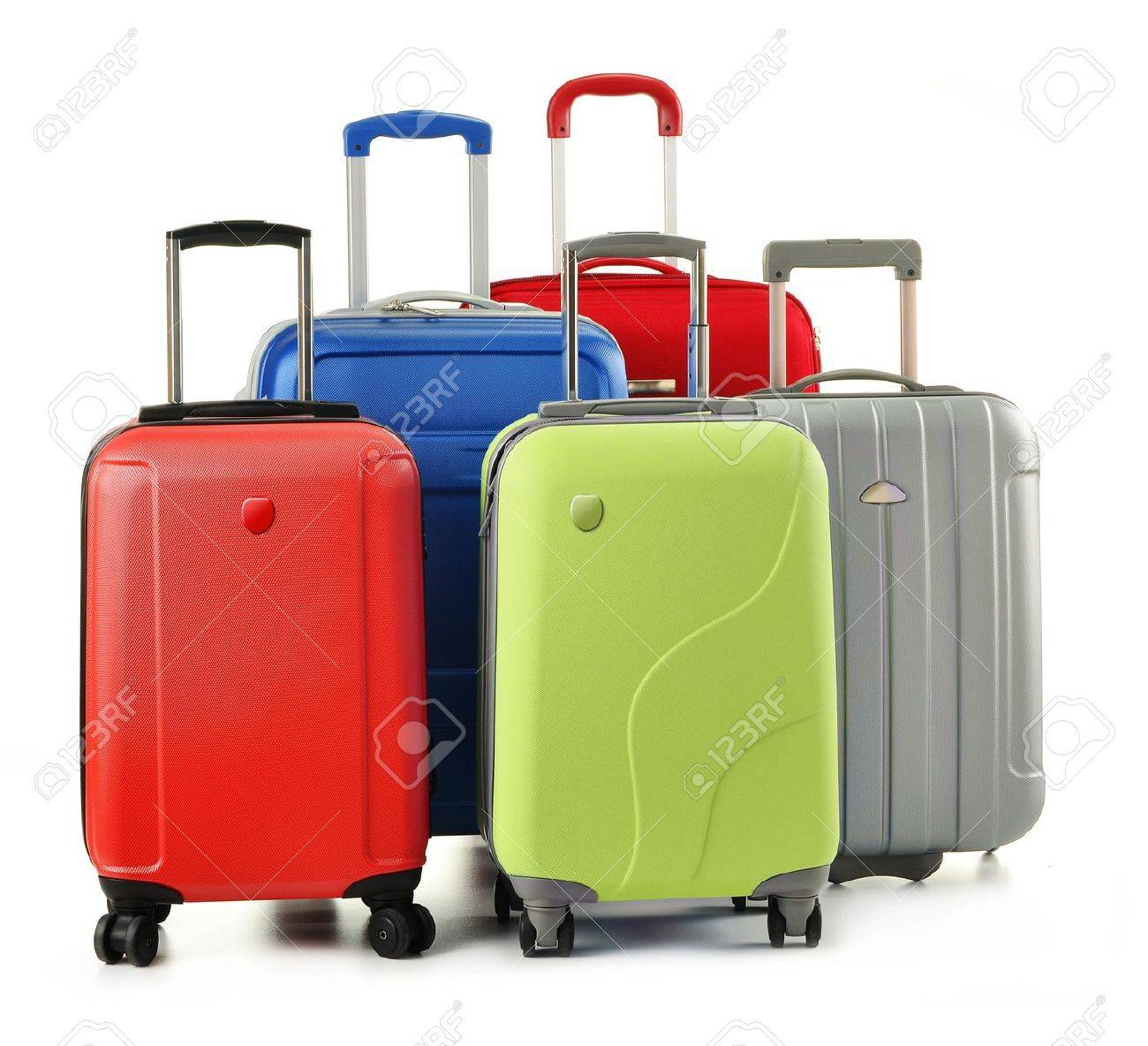 Luggage Consisting Of Polycarbonate Suitcases Isolated On White ...