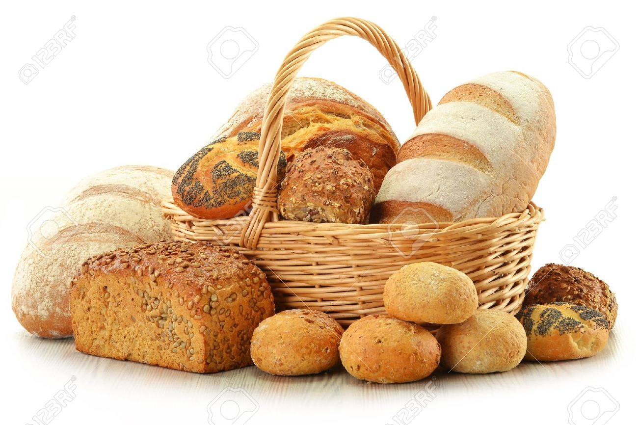 Composition With Bread And Rolls In Wicker Basket Isolated On White Stock Photo 11844544