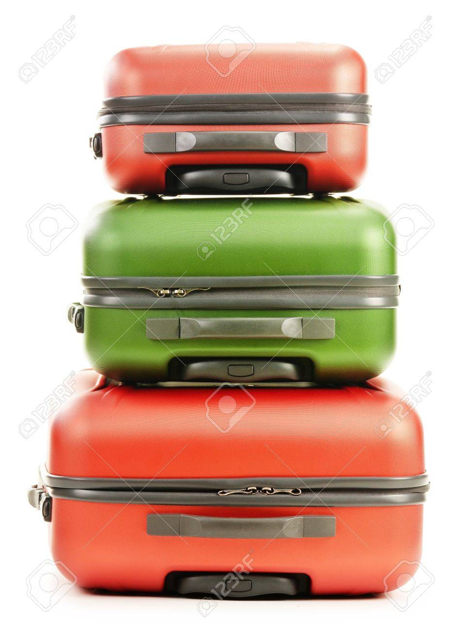 Luggage consisting of three polycarbonate suitcases isolated on white Stock Photo - 18755441