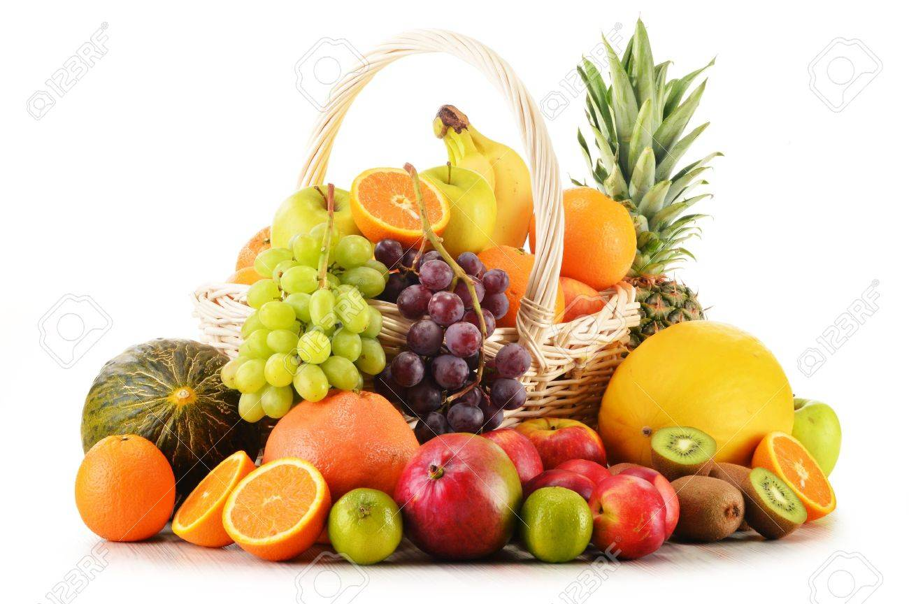 Variety of fruits in wicker basket isolated on white background - 19580047