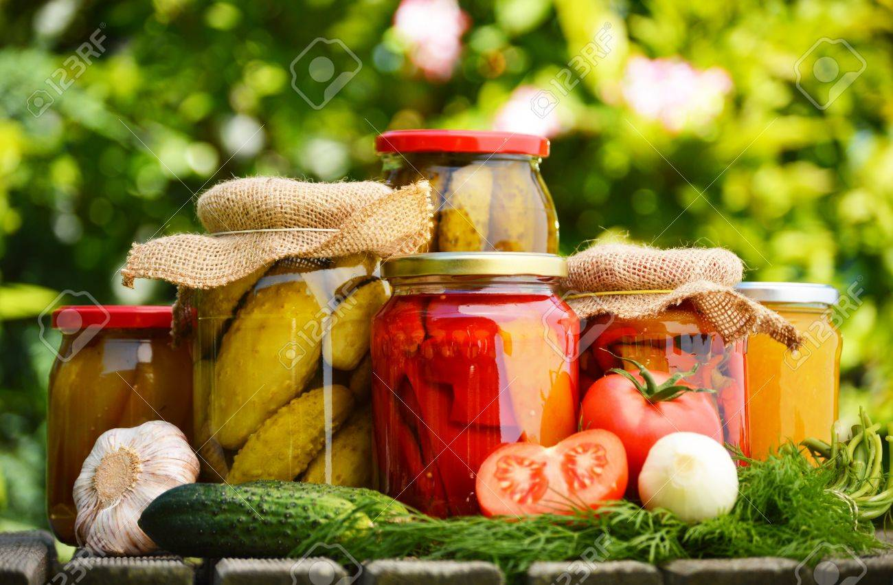 Jars of pickled vegetables in the garden. Marinated food Stock Photo - 20324984