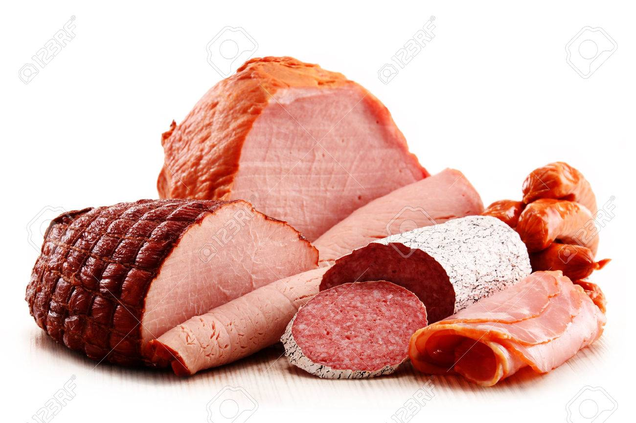 Assorted meat products including ham and sausages isolated on white Standard-Bild - 39621473