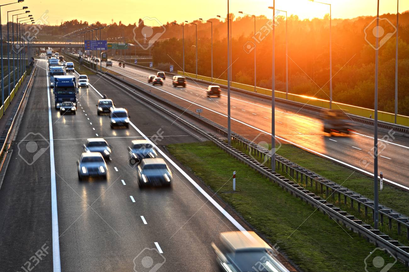 Four Lane Controlled-access Highway In Poland. Stock Photo, Picture And  Royalty Free Image. Image 45836085.