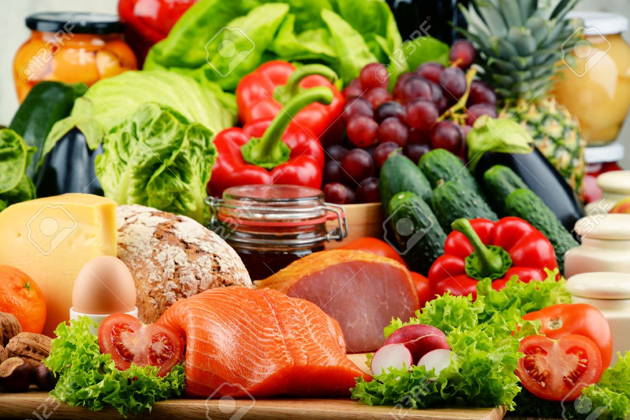 Variety of organic food including vegetables fruit bread dairy and meat. Balanced diet. - 51291822
