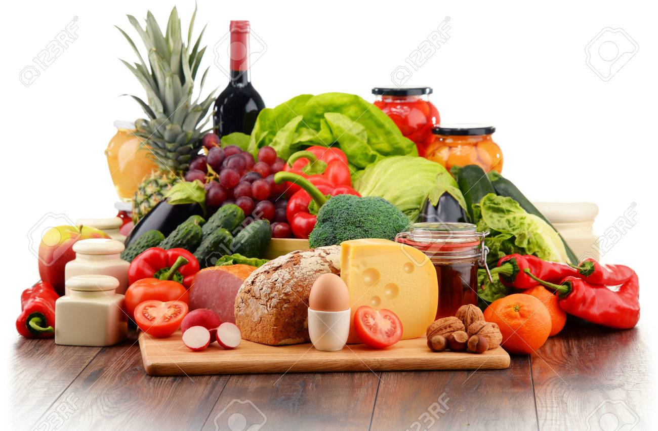 Variety of organic food including vegetables fruit bread dairy and meat. Balanced diet. - 51295838