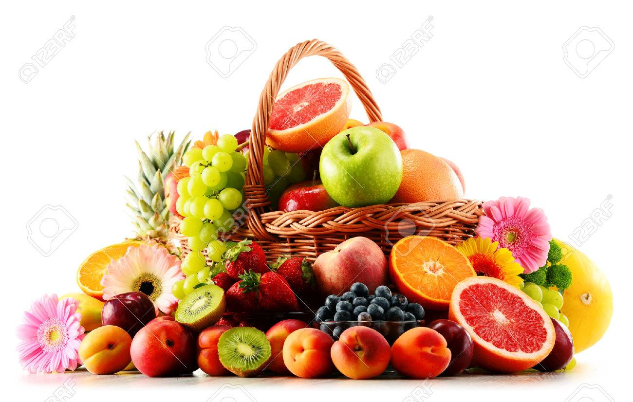 Composition with assorted fruits isolated on white background - 52125829