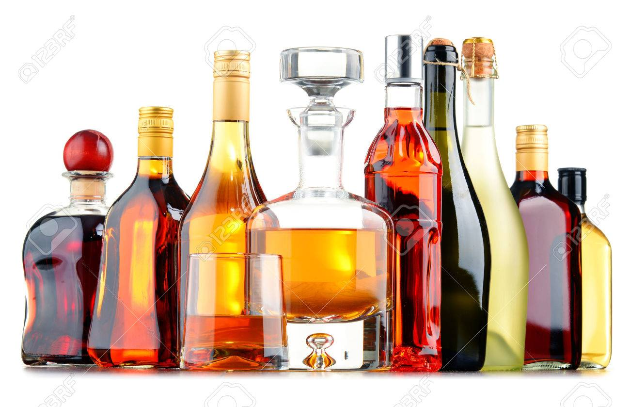Composition with bottles of assorted alcoholic beverages. - 52450499