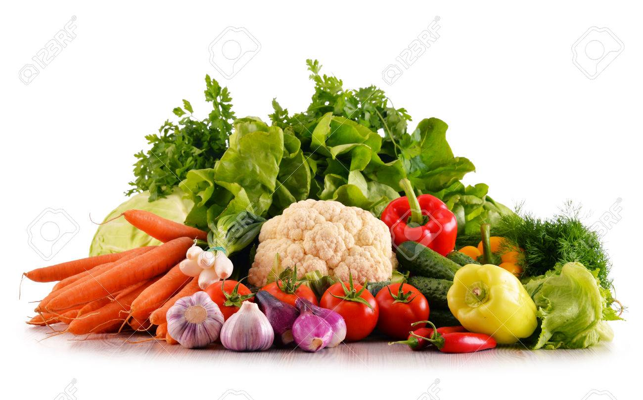 Composition with variety of fresh organic vegetables isolated on white - 60619308
