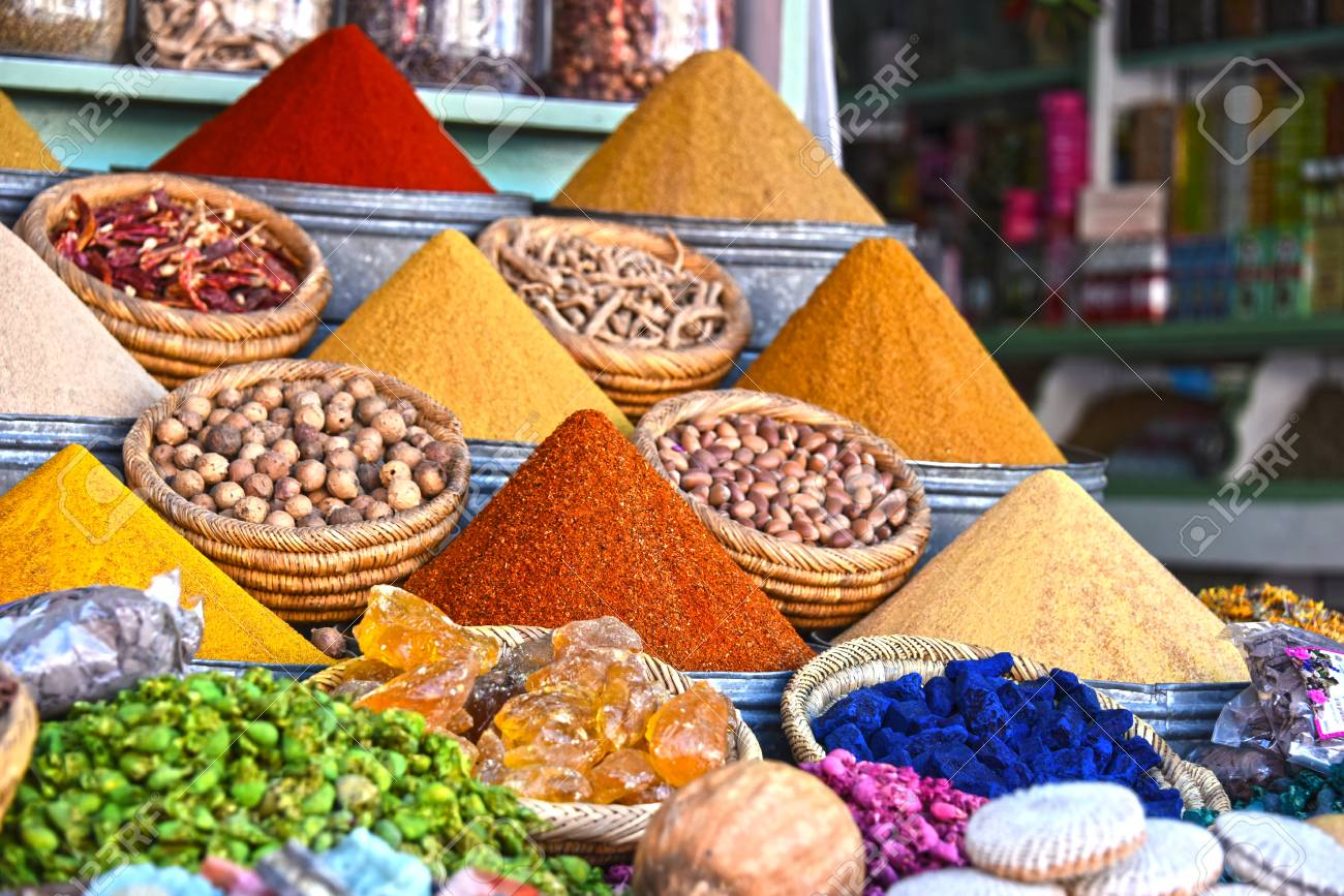 Variety of spices on the arab street market stall - 64242498