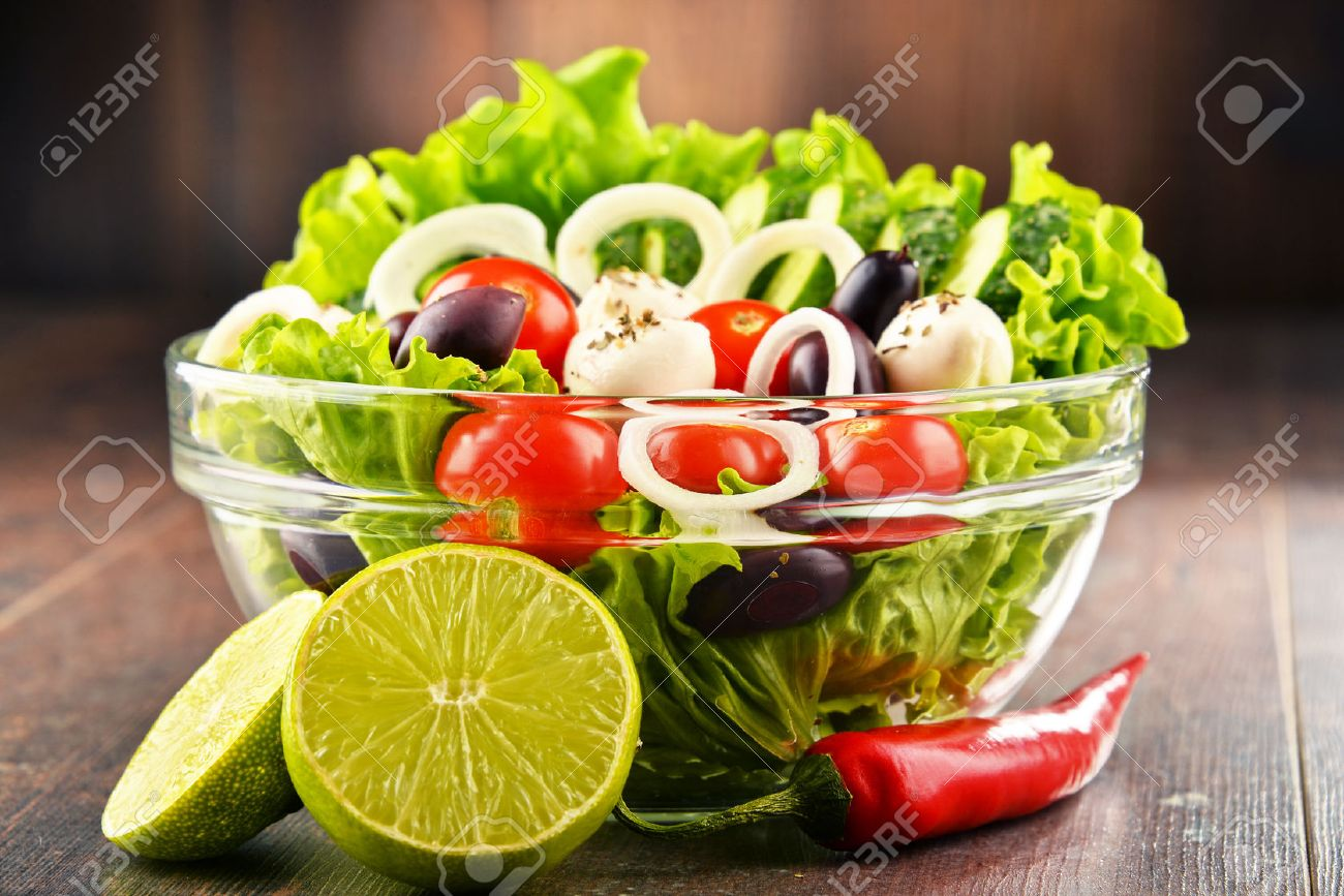 Composition With Vegetable Salad Bowl Balanced Diet Stock Photo 64678107