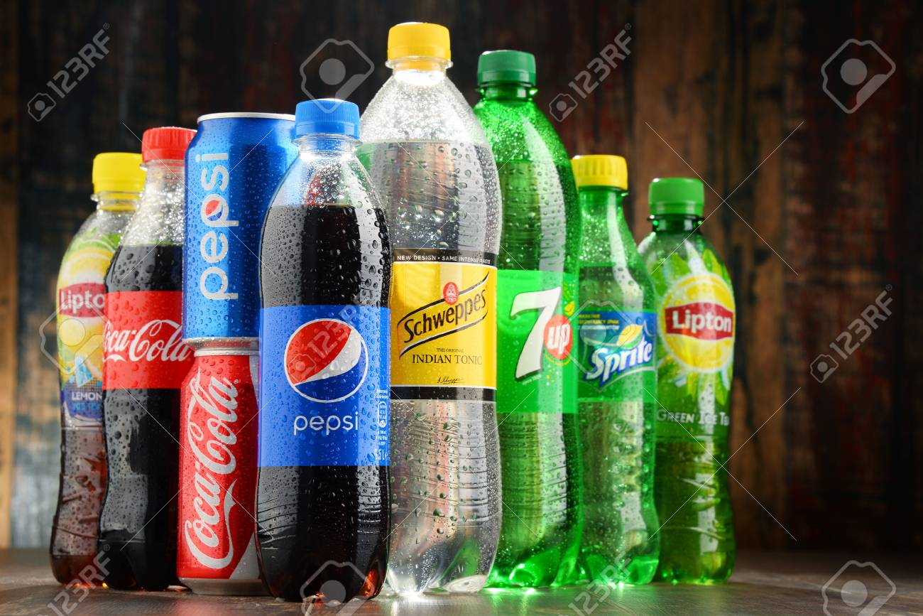 POZNAN, POLAND - NOV 23, 2016: Global soft drink market is dominated by brands of few multinational companies founded in North America. Among them are Pepsico, Coca Cola and Dr. Pepper Snapple Group - 66049931