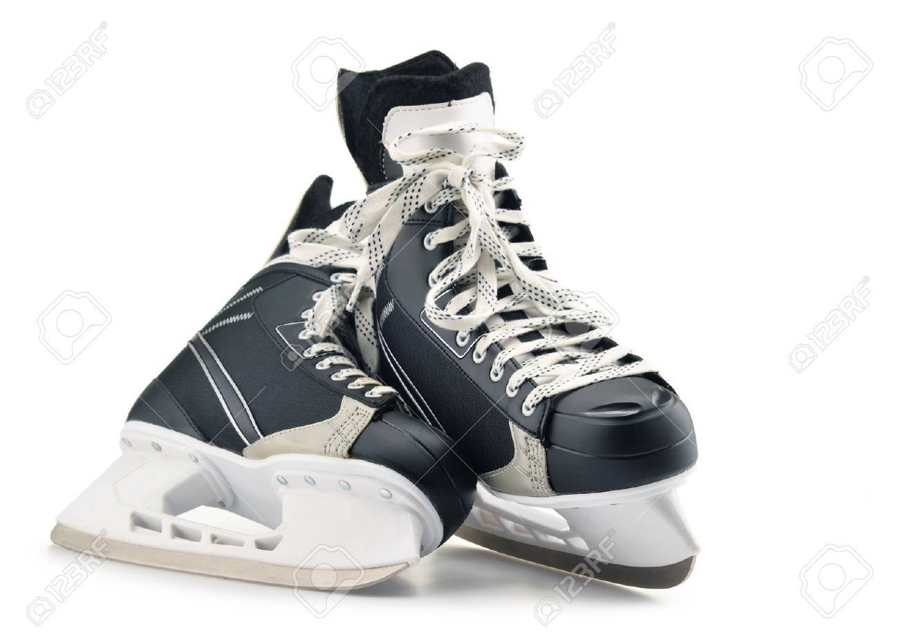 Pair of ice hockey skates isolated on white background. - 69708604