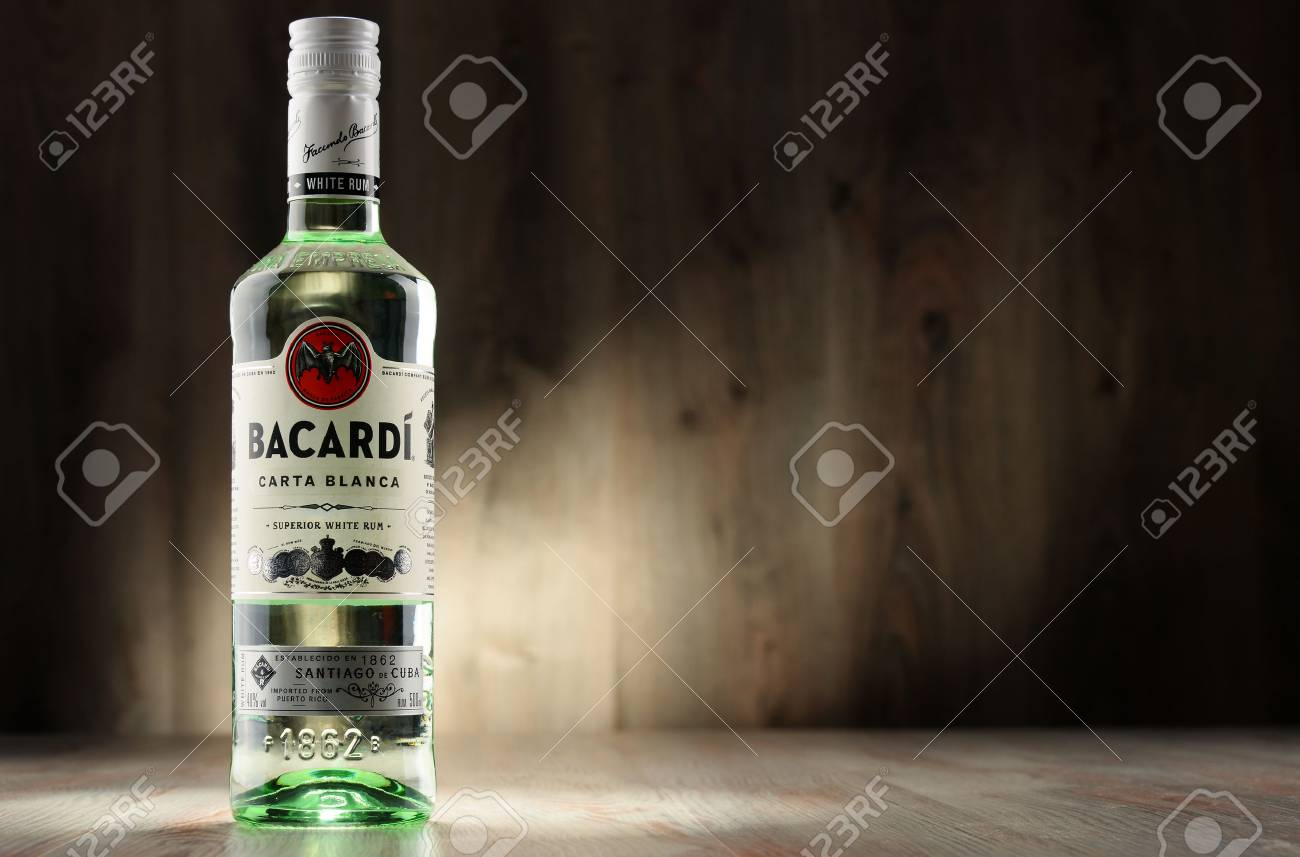 POZNAN, POLAND - DEC 8, 2016: Bacardi white rum is a product of Bacardi Limited, the largest privately held, family-owned spirits company in the world, headquartered in Hamilton, Bermuda. - 69047483