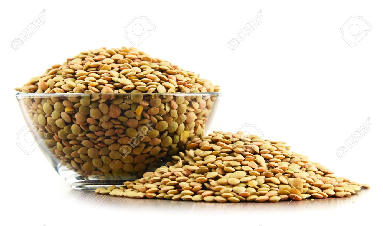 Composition with bowl of lentils isolated on white background - 75151741