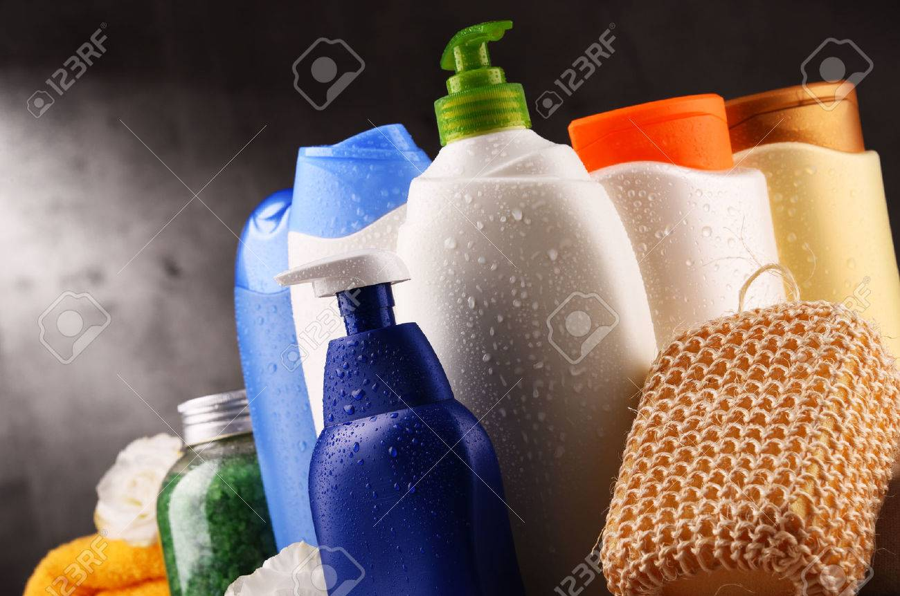 Plastic bottles of body care and beauty products. - 84490130