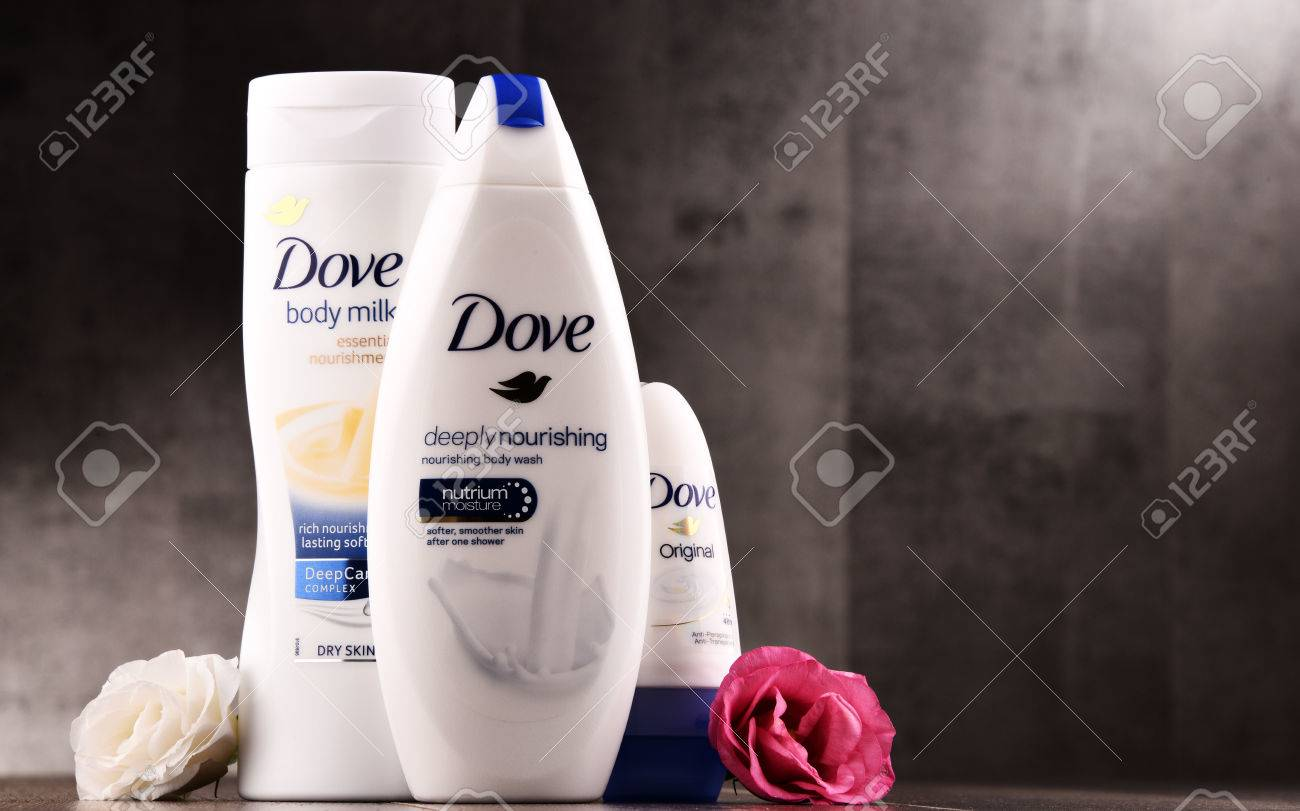 POZNAN, POLAND - AUG 11, 2017: Introduced to the British market in 1955, Dove is a personal care brand, now owned by Unilever and sold in more than 80 countries - 84383636