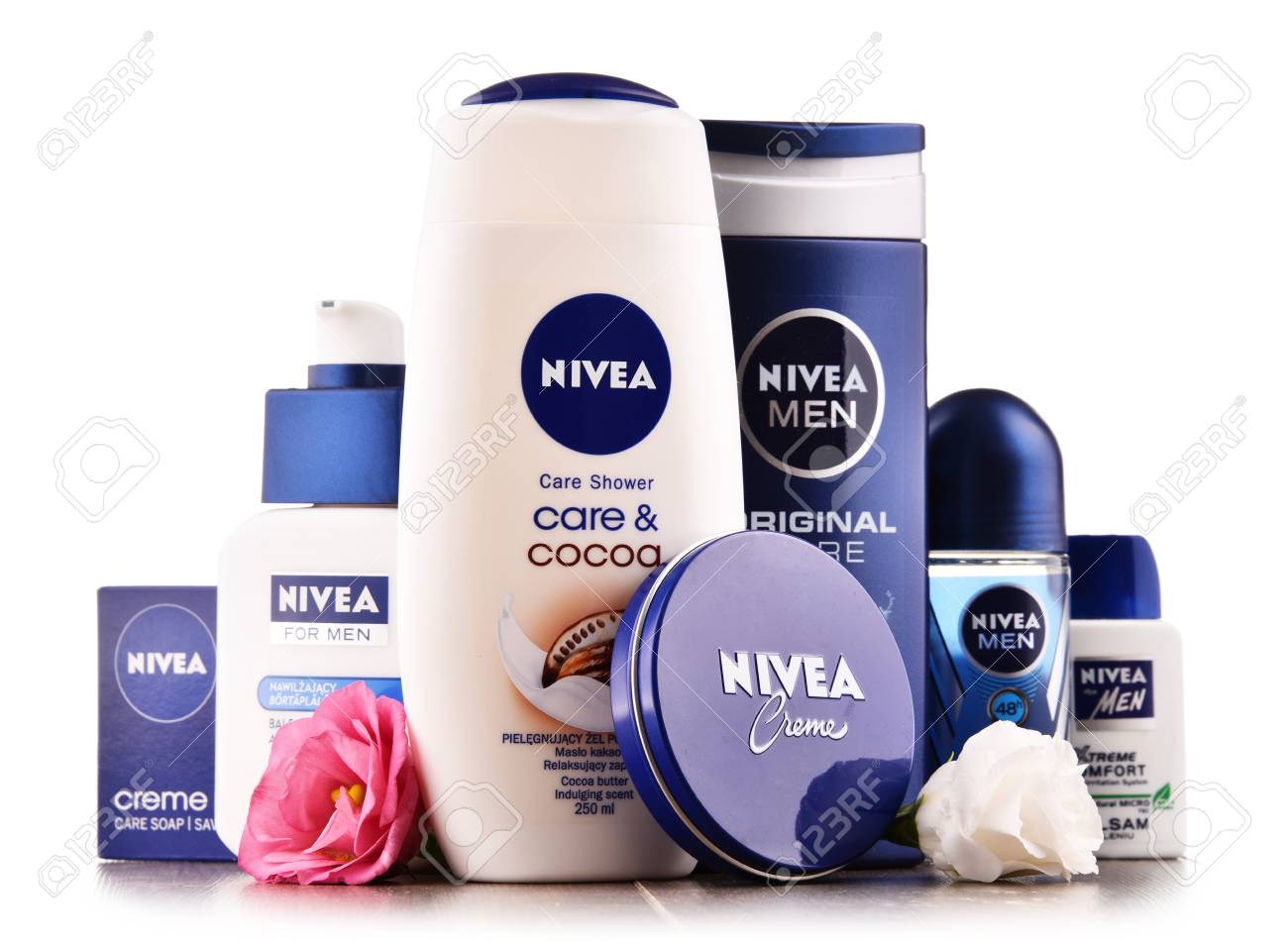 POZNAN, POLAND - AUG 11, 2017: Nivea is a German personal care brand that specializes in skin- and body-care products. It is owned by Beiersdorf Global AG headquartered in Hamburg. - 84383663