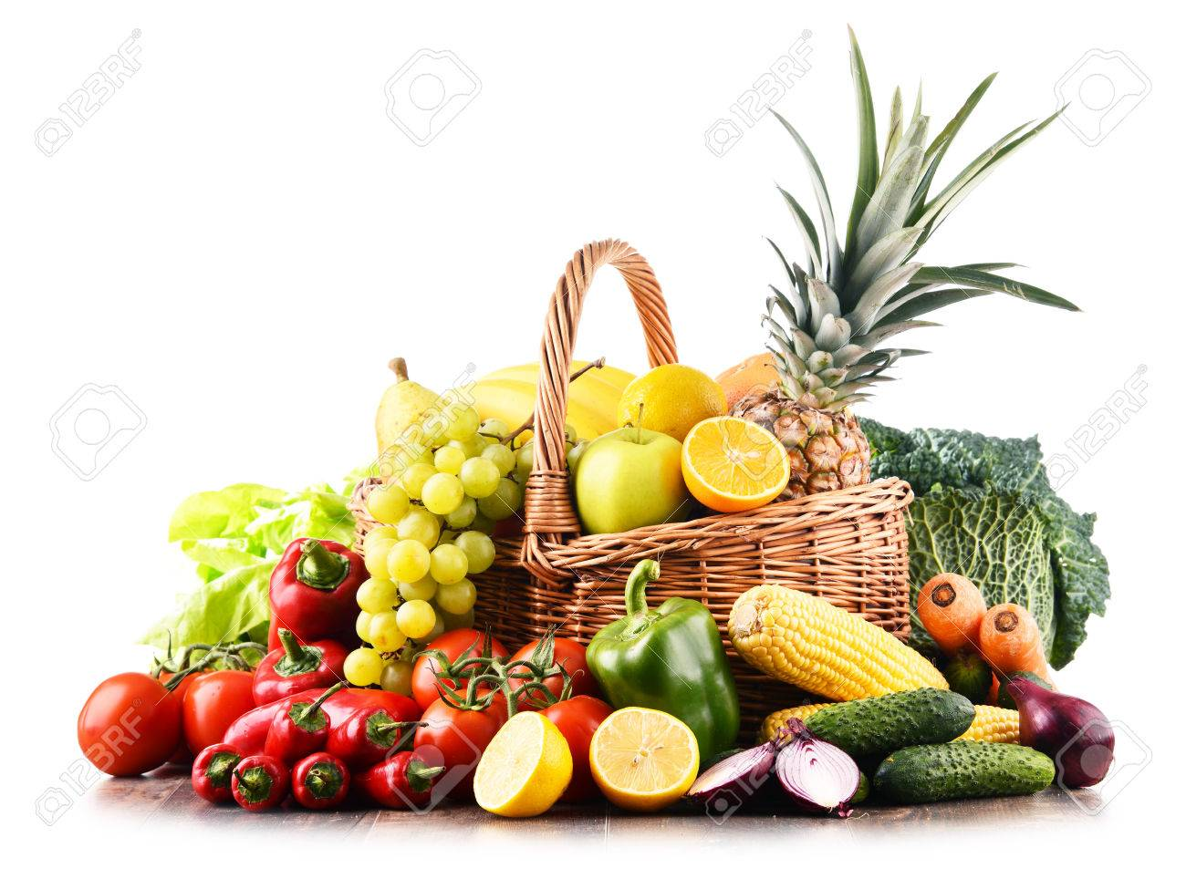 Composition with variety of raw organic vegetables and fruits. Balanced diet - 86178708