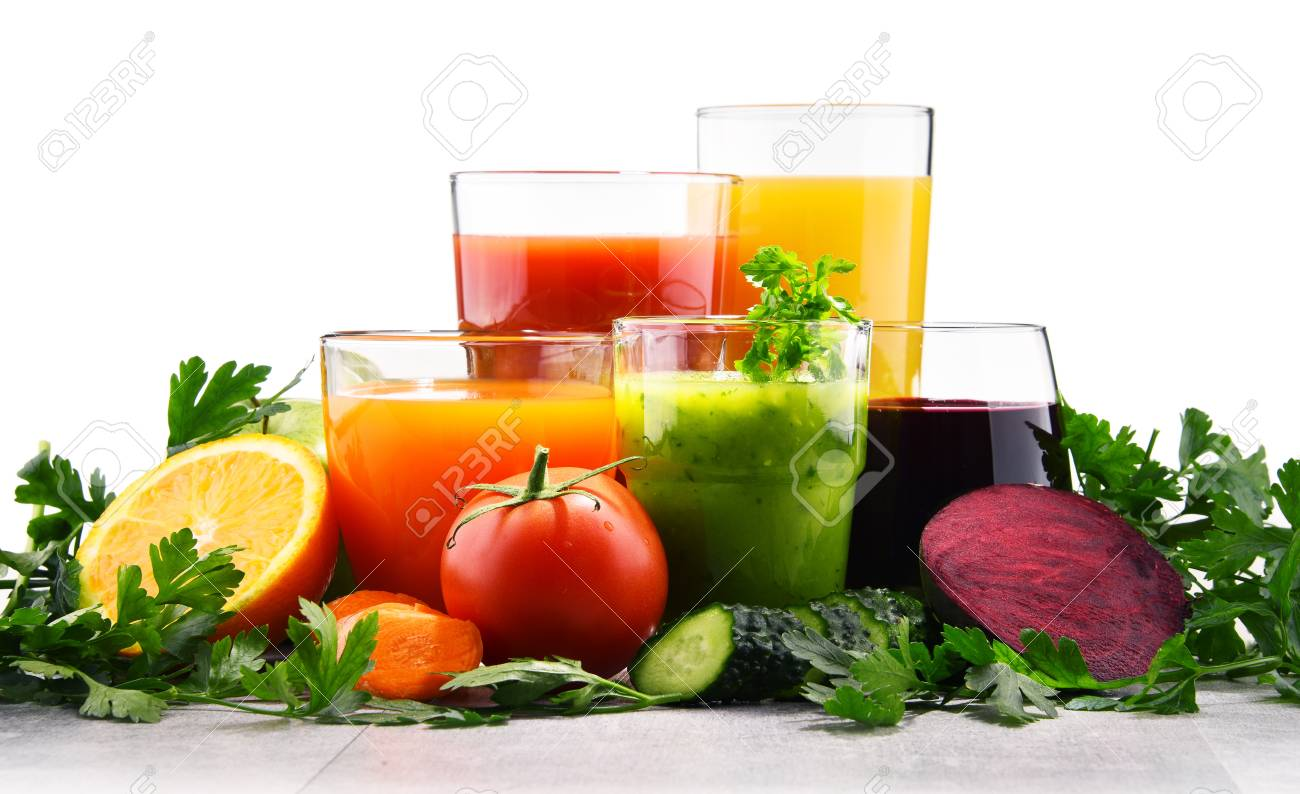Glasses with fresh organic vegetable and fruit juices. Detox diet - 90015432