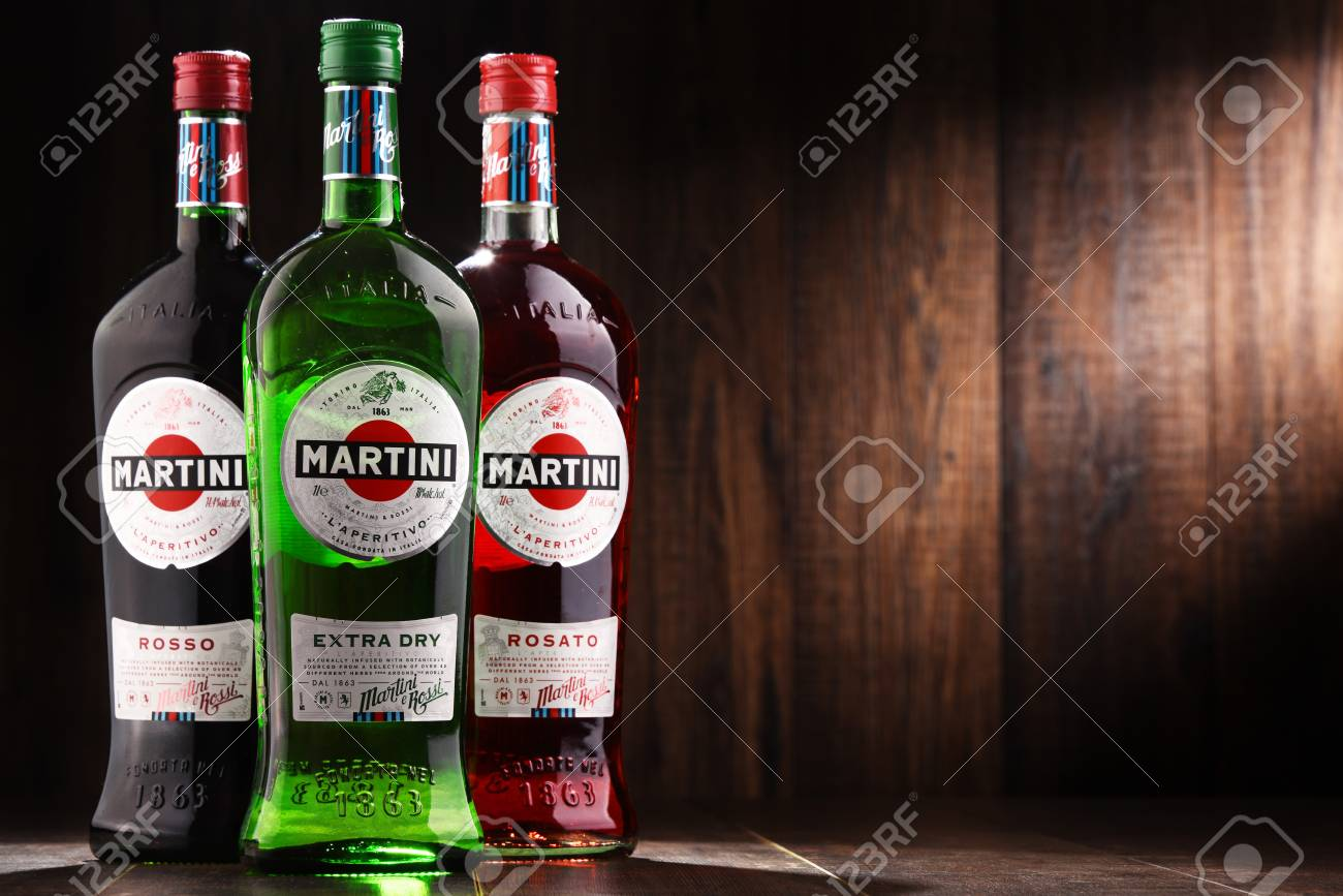 POZNAN, POLAND - DEC 7, 2017: Products of Martini, famous Italian