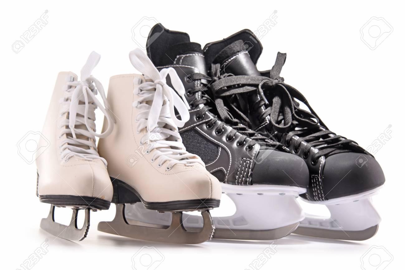 Ice hockey skates and figure skates isolated on white background. - 92572652