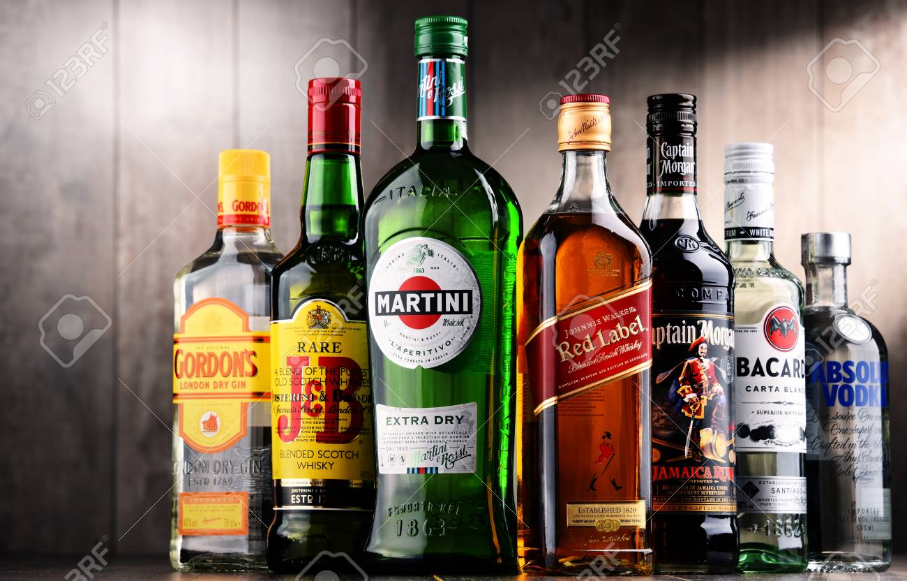 Poznan Poland Dec 15 2017 Bottles Of Assorted Global Liquor Stock Photo Picture And Royalty Free Image Image 93039173