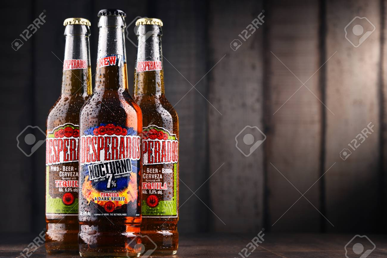 Poznan Poland Feb 14 2018 Desperados A Pale Lager Flavored Stock Photo Picture And Royalty Free Image Image 99102753