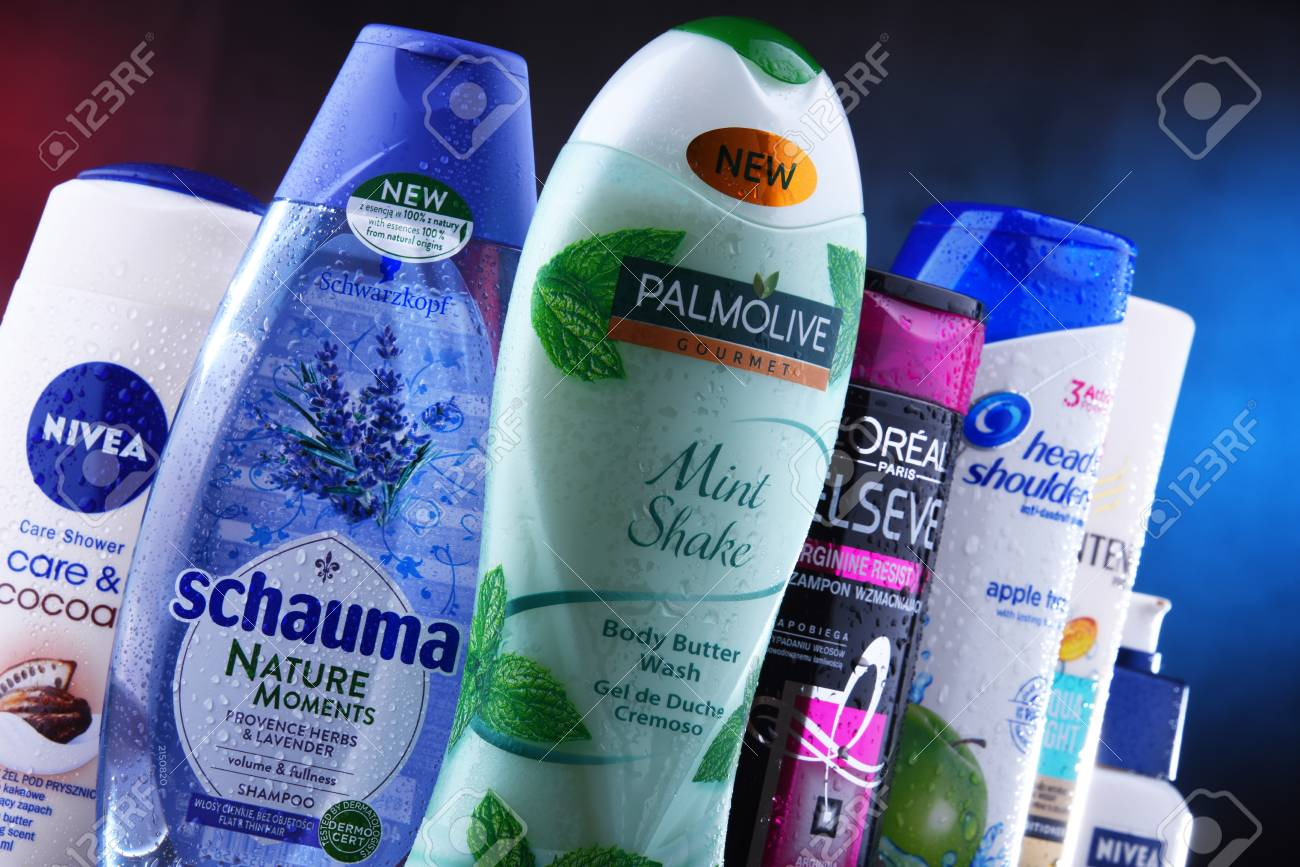 POZNAN, POLAND - DEC 5, 2018: Plastic containers of body care products including widely available most popular global brands as LOreal, Nivea, Dove, Palmolive, Head & Shoulders and Schwarzkopf - 115360222