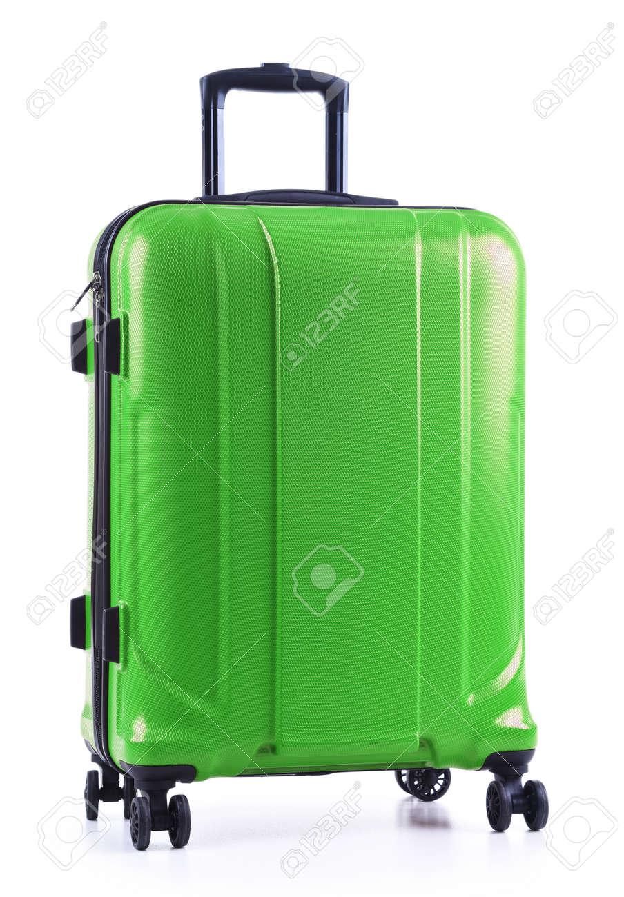 Travel suitcase isolated on white background. - 128575006