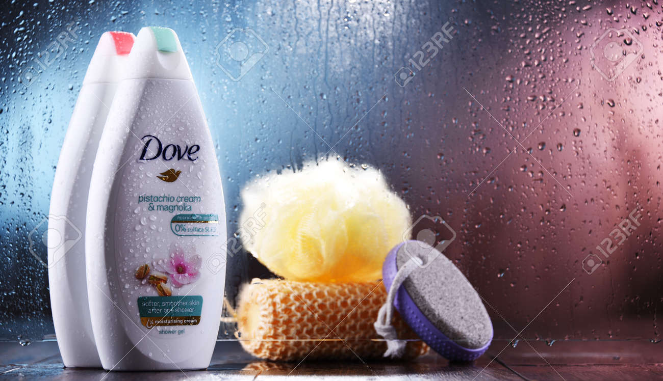 POZNAN, POL - OCT 23, 2020: Container of Dove product, a personal care brand, owned by Unilever and sold in more than 80 countries - 159483305