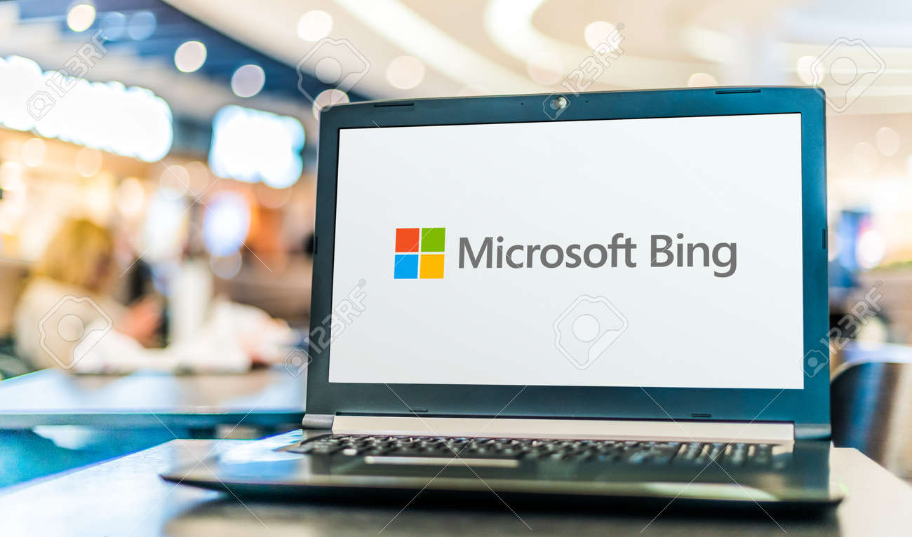 POZNAN, POL - SEP 23, 2020: Laptop computer displaying logo of Bing, a web search engine owned and operated by Microsoft - 167657764