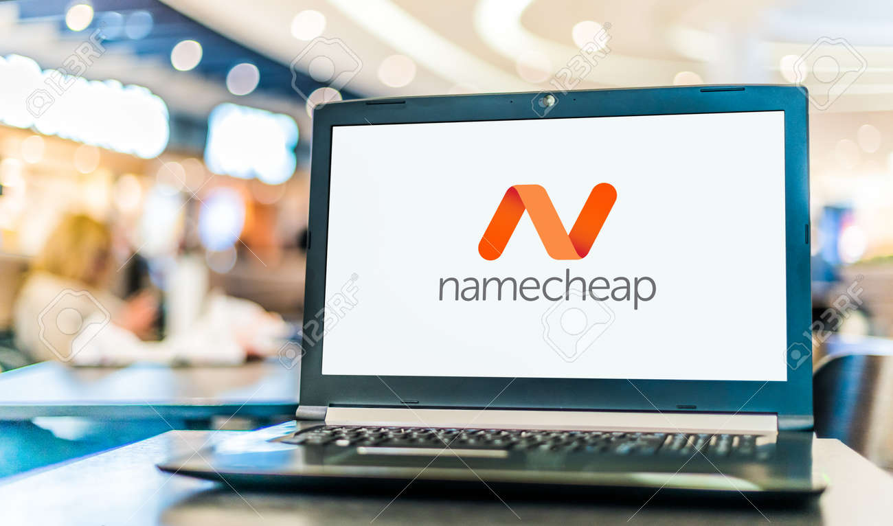POZNAN, POL - JAN 6, 2021: Laptop computer displaying logo of Namecheap, an ICANN-accredited domain name registrar, which provides domain name registration and web hosting - 167657759