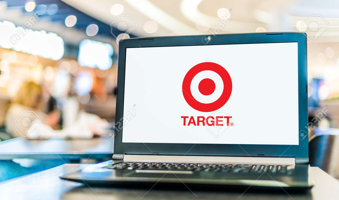 POZNAN, POL - JAN 6, 2021: Laptop computer displaying logo of Target Corporation, an American retail corporation - 167657747