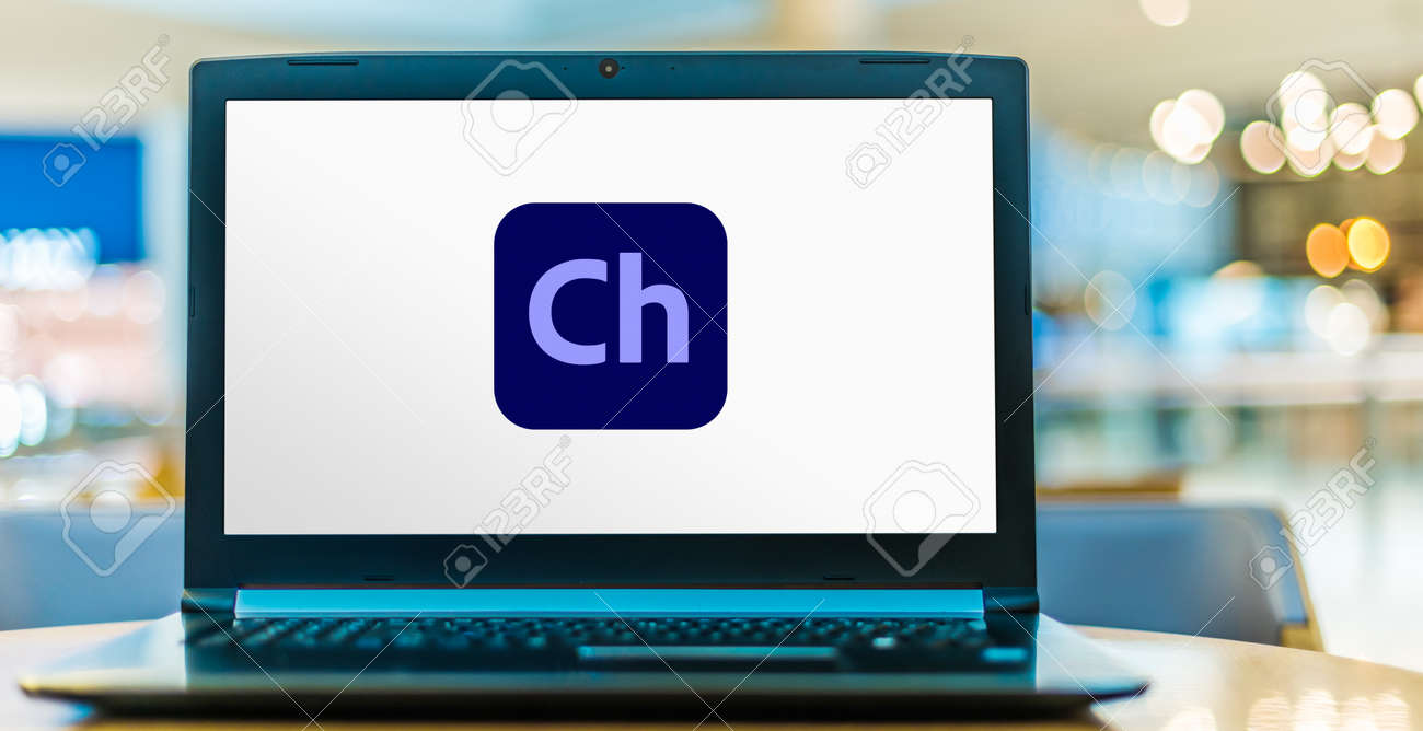 POZNAN, POL - AUG 8, 2020: Laptop computer displaying logo of Adobe Character Animator, a desktop application software product that is automatically installed with Adobe After Effects - 167657767