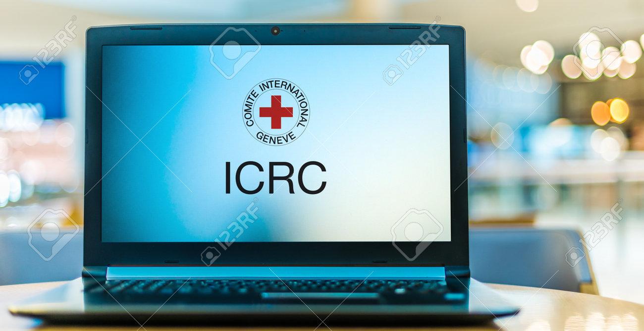 POZNAN, POL - JAN 6, 2021: Laptop computer displaying logo of The International Committee of the Red Cross, a humanitarian organization based in Geneva, Switzerland - 167657778