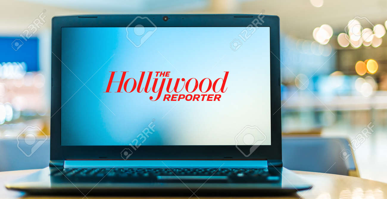 POZNAN, POL - JAN 6, 2021: Laptop computer displaying logo of The Hollywood Reporter, a digital and print magazine, and website, which focuses on the Hollywood film, tv, and entertainment industries - 167657775