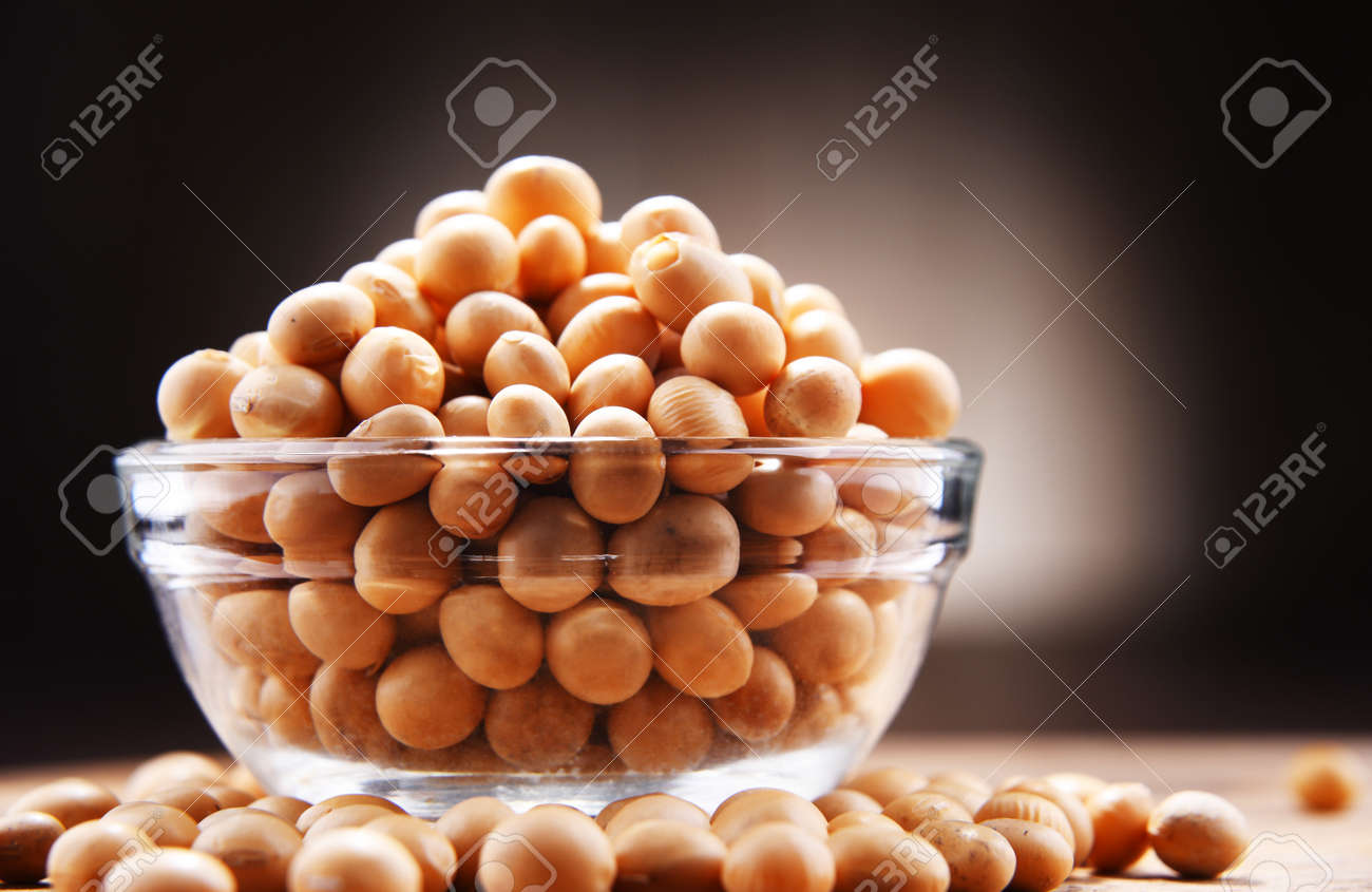 Composition with bowl of soya beans. - 168087399